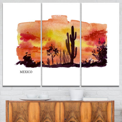 Designart Mexico Vector Illustration Cityscape Painting Canvas Print - 3 Panels