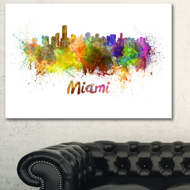 Designart Miami Skyline Cityscape Canvas Art Print