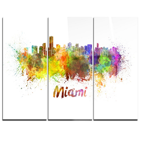 Designart Miami Skyline Cityscape Canvas Art Print- 3 Panels