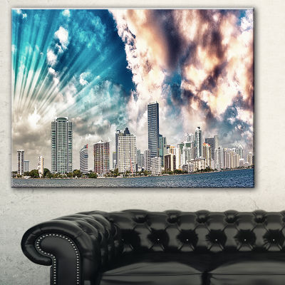 Designart Miami Skyline With Clouds Cityscape Photo Canvas Print