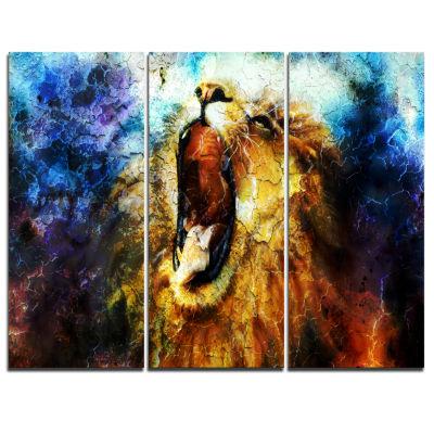 Designart Mighty Lion Emerging Animal Art CanvasPrint - 3 Panels