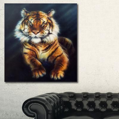 Designart Mighty Tiger Animal Art Painting - 3 Panels