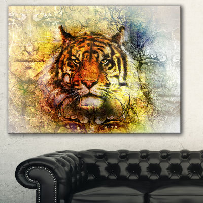 Designart Mighty Tiger With Mystic Face Animal Canvas Art Print - 3 Panels