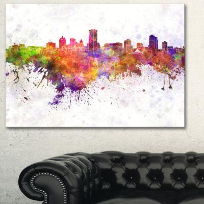 Designart Milwaukee Skyline Cityscape Canvas Artwork Print - 3 Panels