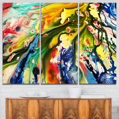 Designart Mixed Oil Color Texture Abstract CanvasArt Print - 3 Panels