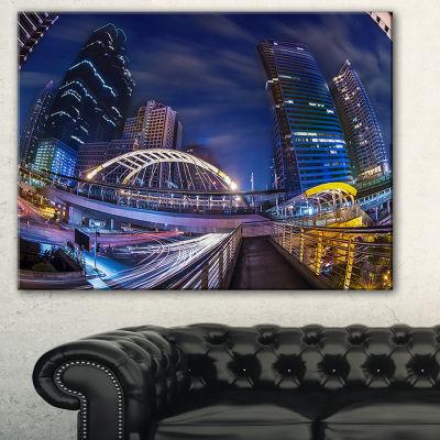 Designart Modern Bridge Cityscape Photography Canvas Art Print