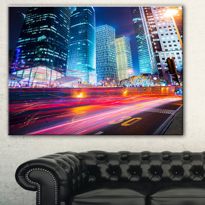 Design Art Modern City Night Scene Cityscape PhotoCanvas Print - 3 Panels