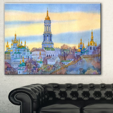Designart Monastery On Steep Hill Cityscape Painting Canvas Print