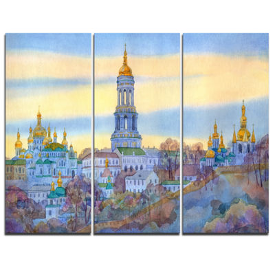 Designart Monastery On Steep Hill Cityscape Painting Canvas Print - 3 Panels