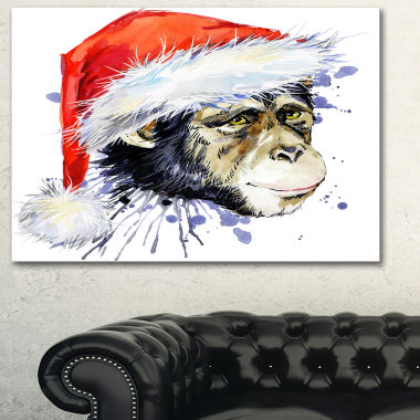 Designart Monkey Santa Clause Animal Art Painting