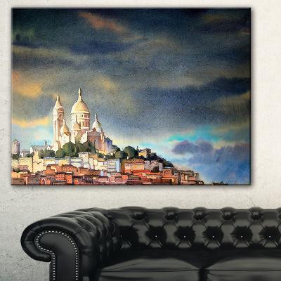 Design Art Montmartre Skyline Watercolor PaintingCanvas Print - 3 Panels