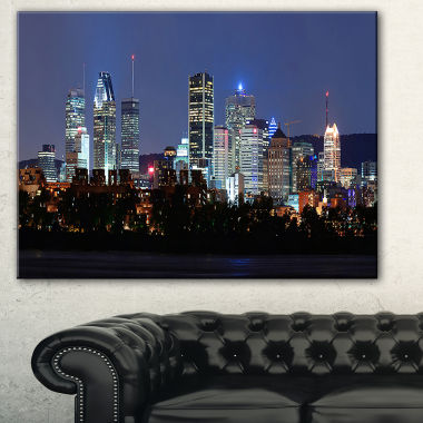 Designart Montreal Over River At Dusk Cityscape Photo Canvas Print