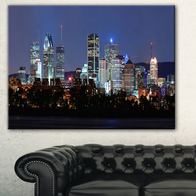 Designart Montreal Over River At Dusk Cityscape Photo Canvas Print - 3 Panels
