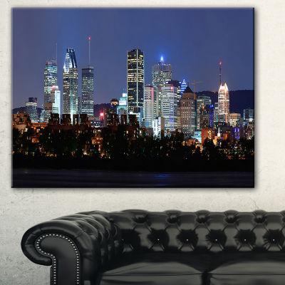 Designart Montreal Over River At Dusk Cityscape Photo Canvas Print - 3 Panels