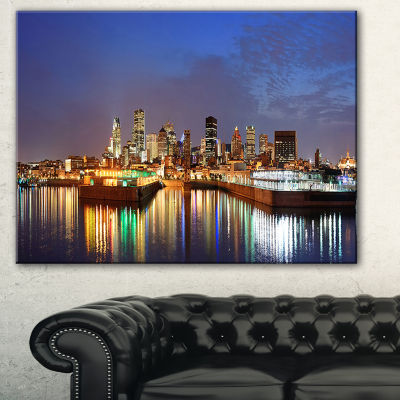 Designart Montreal Over River Panorama Cityscape Photo Canvas Print