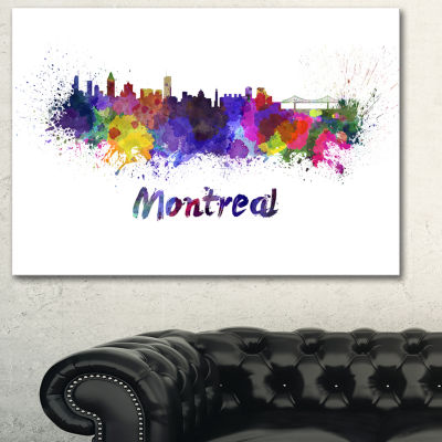 Designart Montreal Skyline Cityscape Canvas Artwork Print - 3 Panels