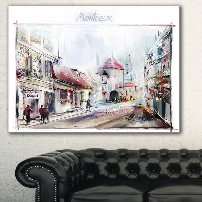 Design Art Montreux Illustration Digital Art Landscape Canvas Print - 3 Panels