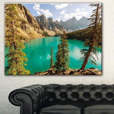 Designart Moraine Lake In Banff National Park Landscape Art Print Canvas - 3 Panels