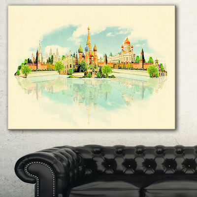 Designart Moscow Panoramic View Cityscape Watercolor Canvas Print - 3 Panels