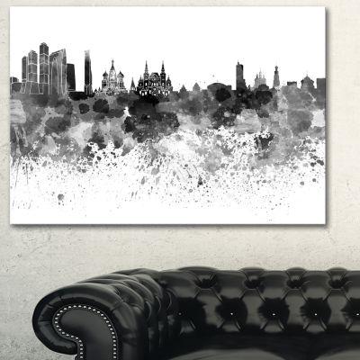 Designart Moscow Skyline Cityscape Canvas Art Print - 3 Panels