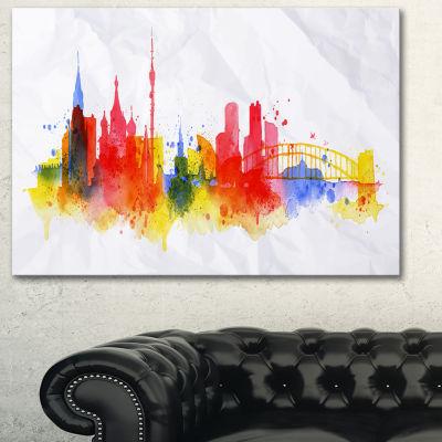 Designart Moscow Skyline Cityscape Canvas ArtworkPrint - 3 Panels