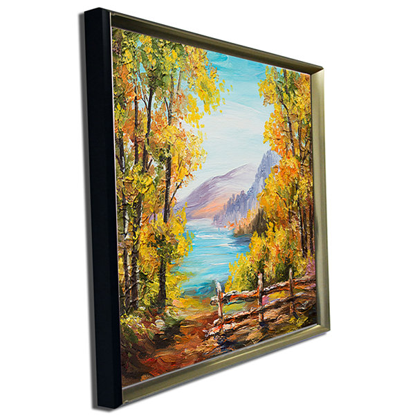 Designart Mountain Lake In The Fall Landscape ArtPrint Canvas