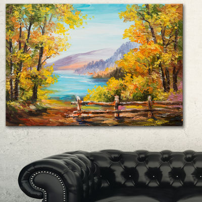 Designart Mountain Lake In The Fall Landscape ArtPrint Canvas - 3 Panels