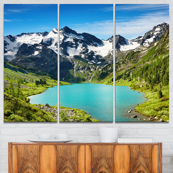 Design Art Mountain Lake Landscape Photography Canvas Art Print - 3 Panels