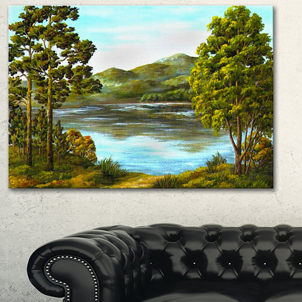 Designart Mountain Lake With Blue Water LandscapeArt Print Canvas