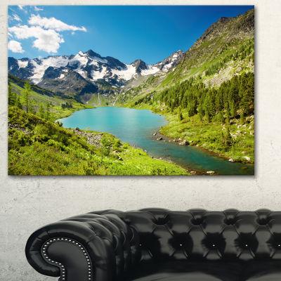 Design Art Mountain Lake With Green Hills Photography Canvas Art Print - 3 Panels