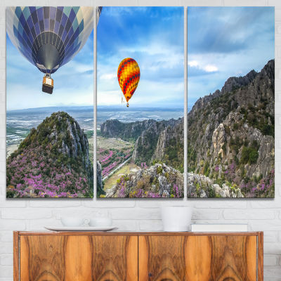 Designart Mountains And Balloon Landscape Photography Canvas Art Print - 3 Panels