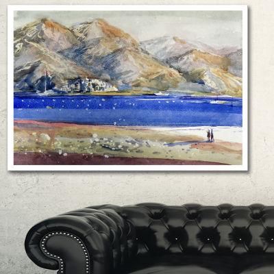 Designart Mountains And Blue Sea Landscape Art Print Canvas - 3 Panels