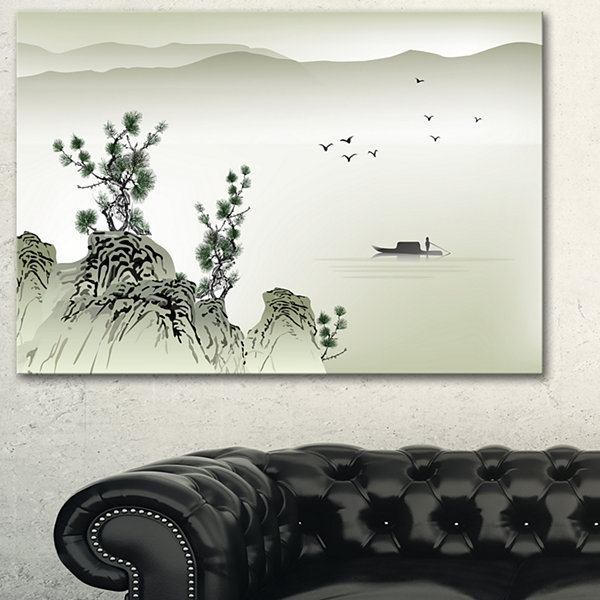 Designart Mountains And Sea Landscape Art Print Canvas - 3 Panels
