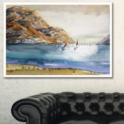 Designart Mountains In Sea Seascape Canvas Art Print - 3 Panels