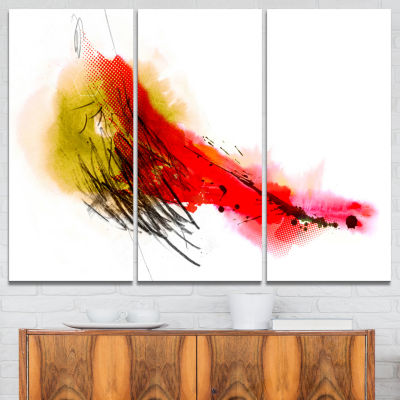 Designart Multicolor Stain Abstract Canvas Art Print - 3 Panels