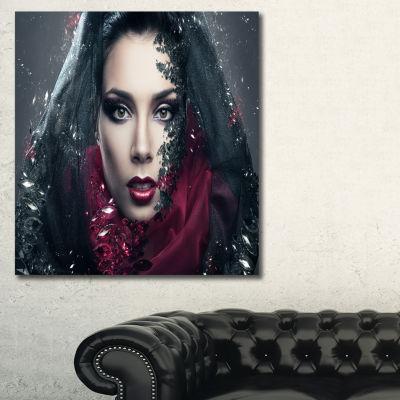Designart Mysterious Woman Portrait Contemporary Canvas Art Print
