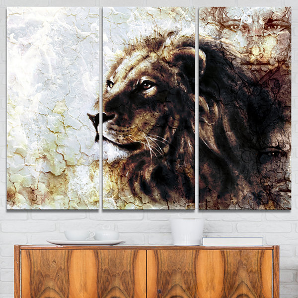 Designart Mystic Face Animal Art Painting - 3 Panels