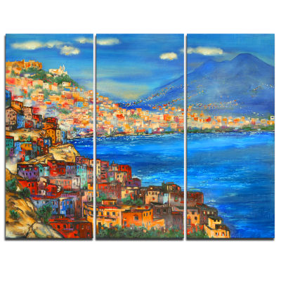 Design Art Naples Today Seascape Canvas Art Print-3 Panels