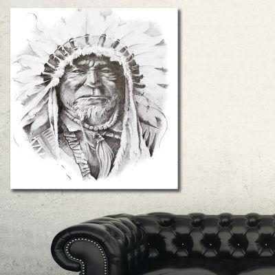 Designart Native American Indian Portrait Canvas Art Print