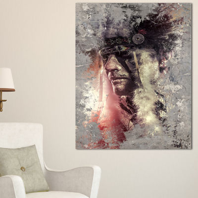 Designart Native American Indian Warrior AbstractPortrait Canvas Print