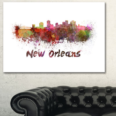 Designart New Orleans Skyline Cityscape Canvas Artwork Print