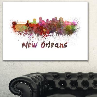 Design Art New Orleans Skyline Cityscape Canvas Artwork Print - 3 Panels