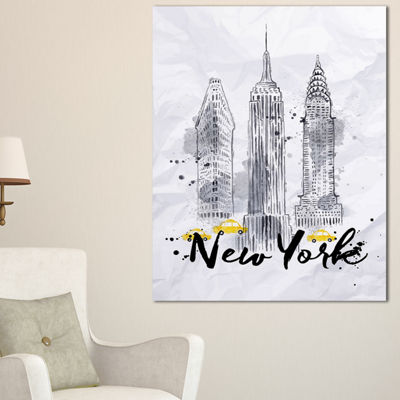 Designart New York Buildings Watercolor CityscapeCanvas Art Print