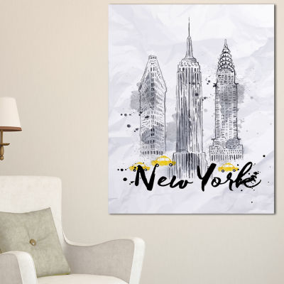 Design Art New York Buildings Watercolor CityscapeCanvas Art Print - 3 Panels