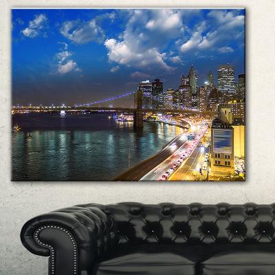 Designart New York City Wonderful Sunset View Cityscape Photo Canvas Print - 3 Panels
