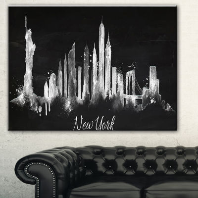 Designart New York Dark Silhouette Cityscape Painting Canvas Print - 3 Panels