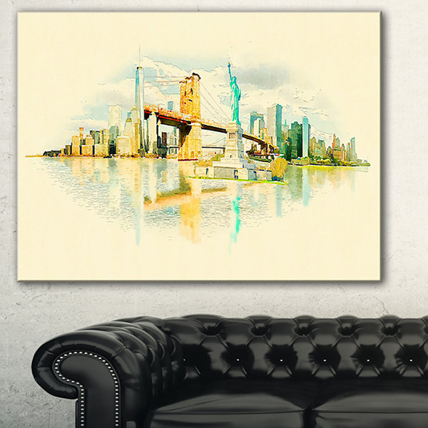 Designart New York Panoramic View Cityscape Watercolor Canvas Print - 3 Panels