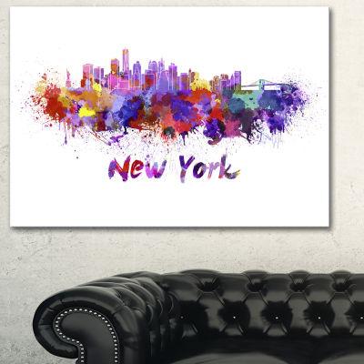 Designart New York Skyline Cityscape Canvas Artwork Print - 3 Panels