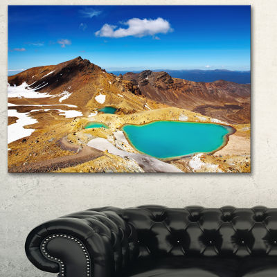Designart New Zealand Emerald Lakes Photography Canvas Art Print - 3 Panels