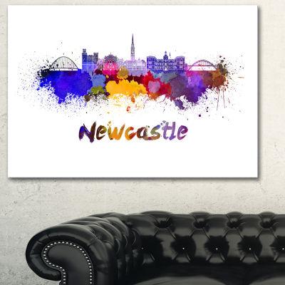 Designart Newcastle Skyline Cityscape Canvas Art Print